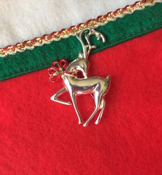 Vintage Christmas Reindeer Brooch Silver Toned Xmas Pin Signed Danecraft by OldStNicksAttic on Etsy