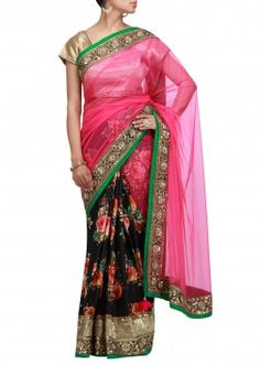 Half and half saree with embroidered border #lovethatsaree