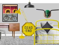Bicycle inspired boy bedroom grey yellow black styleboard shop the look