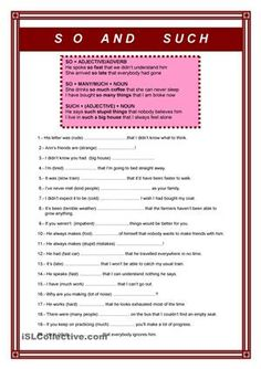 Use of So and SuchExercise +key - ESL worksheets
