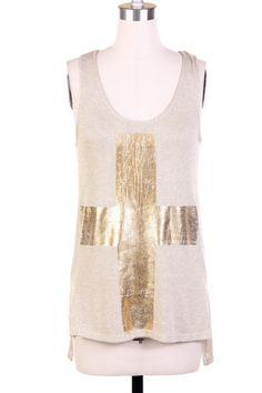 Marlowe Metallic Knit Tank Top $27 -- Khaki knit tank top with gold metallic cross design. Longer tail in the back.  ♥ 91% Rayon, 9% Metallic.  ♥ Hand wash cold.  ♥ Made in the USA.