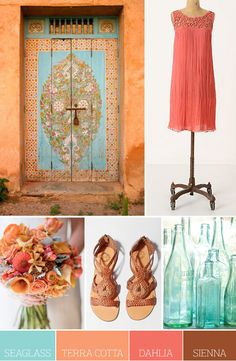 Color Palette: Seaglass, Terra Cotta, Dahlia and Sienna. (I'd like seaglass, dahlia and a yellow. Colour Pallette, Colour Schemes, Color Patterns, Color Combos, Design Seeds, Paint Paint, Colour Board, Wedding Colors, Wedding Blue