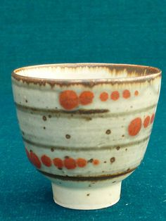 love the orange dots along the stripes(David Leach Studio Pottery Coloured Tea Bowl Cup)
