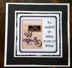Mens Handmade Personalised Birthday Card Motorbike ANY AGE Son Brother Cousin