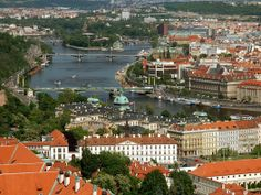 Panoramic view of Prague from the top of a cathedral, Czech Republic Photo