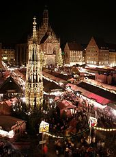 Christkindlesmarkt (Christmas market) in Nuremburg, Germany. We used to talk about this in German class all the time.