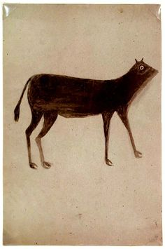 Bill Traylor (1854-1949). Brown Dog with Long Legs. Circa 1939-41 Poster Paint on found Cardboard, 8 x 13 inches