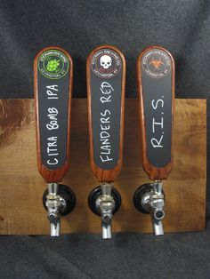 A custom homemade tap handle made from hardwood with an inset wooden chalkboard. The hardwood shown in the pictures is Bubinga, but these can be