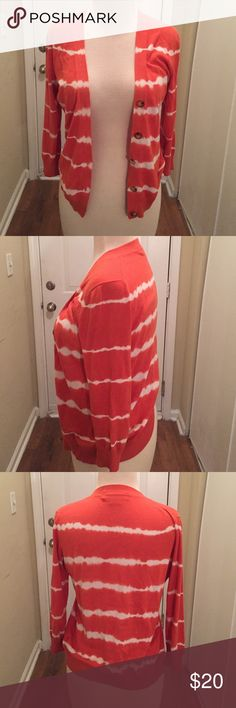 Orange tie dye hippie cardigan sweater petite Great for work, flirt or church. Petite. 3/4 sweater. Fits like a women's small. MICHAEL Michael Kors Sweaters Cardigans
