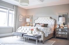 """Kelley Nan on Instagram: """"Jen @stylehouseinteriors recently unveiled her bedroom makeover; it was beautiful before but how stunning is it now?! That bed is truly fit for a queen and if I could fly out to Utah and walk out of her house with it without getting caught, I probably would  You can check out her blog for details and sources of all this gorgeousness but be sure to pay her a visit on Instagram for awesome daily inspiration ❤️"""""""