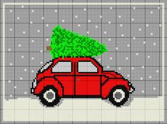 VW Beetle Christmas cross stitch