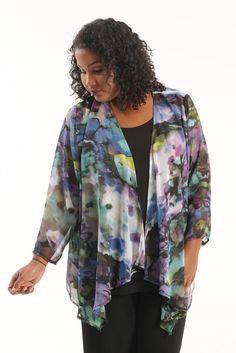 Vikki Vi Monet Sheer Swing Cardigan A great plus size piece for your holiday party.