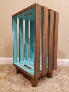 Stained Wood Crate Nightstand with Interior Accent - Wooden Crates Bookshelf Milk Crate Shelves, Wooden Crate Shelves, Crate Desk, Crate Bookshelf, Crate Storage, Wood Crates, Wood Crate Table, Wood Crate Diy, Pallet Crates