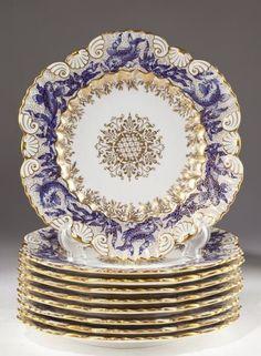 Set of Nine Coalport Fish Plates, circa 1889 : Lot 510 Antique Dishes, Vintage Dishes, Vintage China, Vintage Plates, Objets Antiques, Fish Plate, Nagel Gel, China Patterns, Tea Pots