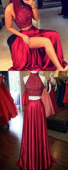 Two Piece High Neck Floor-Length Beaded Split Side Prom Dress Prom dresses,long prom dress,two-piece prom dress,fashion
