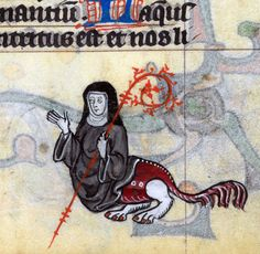 monstrous abbess  'The Maastricht Hours', Liège 14th century  British Library, Stowe 17, fol. 162r