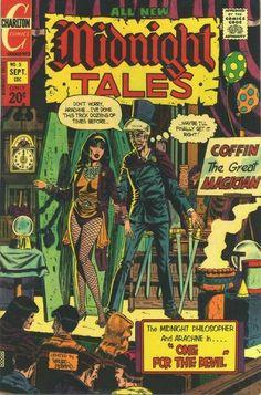Arachne and Professor Coffin in Charlton Comics' Midnight Tales.