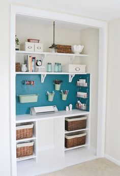 Craft Closet Transformation - Beneath My Heart How To Turn a Closet Into a Craft Cener [Tutorial] : Step by step DIY tips to repurpose your disorganized closet into an organized craft space. Craft Organization, Craft Storage, Storage Ideas, Pegboard Storage, Organizing Ideas, Diy Shelving, Organization Station, Small Space Organization, Paper Storage
