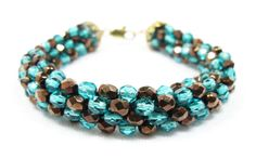Turquoise and Brown Kumihimo Bracelet by kiddercreations on Etsy
