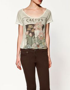Linen T-shirt with cactus seed packet design, $25.90
