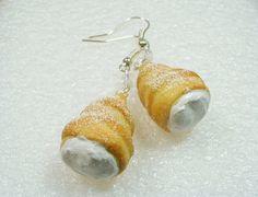 Cream Horn Earrings Polymer Clay by GiraffesKiss on Etsy, £7.50