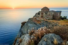 """Monemvasia, meaning """"single entrance"""" is a Greek town on an island, accessible only by a narrow bridge. The site was… Monemvasia Greece, Greek Town, Myconos, Greek Beauty, Sunset Sea, Beautiful Architecture, Places Around The World, Worlds Largest, Travel Photos"""