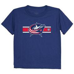 Preschool Columbus Blue Jackets Old Time Hockey Navy Blue Striped Logo T- Shirt a7e3018ac