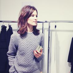 great hair and lovely textured sweater