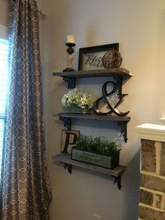 Rustic Triple Shelf Display with Wrought Iron Brackets
