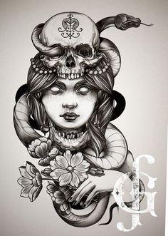 Drawing by Gro Fab tattoo artist in Paris fr #skull #lady #tattoo #flash #grofab  #matierenoiretattoo #matierenoire #paris #france