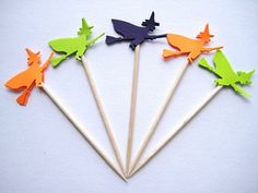24 Purple Lime Green Orange Witch Party by ThePrettyPaperShop, $4.99