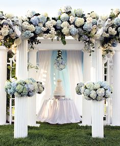 This wedding decor is absolutely gorgeous. Love the hydrangeas