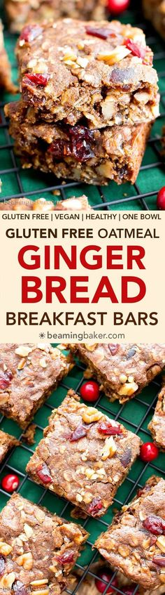 Gingerbread Oatmeal Homemade Breakfast Bars (V, GF): an easy recipe for deliciously soft homemade breakfast bars filled with your favorite holiday flavors. #Vegan #GlutenFree #DairyFree #Breakfast #Oatmeal | Recipe on BeamingBaker.com