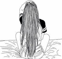 grafika girl, outline, and hair Tumblr Outline, Outline Art, Outline Drawings, Cool Drawings, Drawing Sketches, Tumblr Girl Drawing, Tumblr Drawings, Tumblr Sketches, Girl Outlines