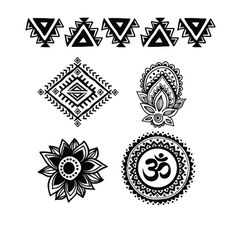 This set includes five temporary tattoos - a mandala with an om symbol, two triangle designs and two smaller henna-inspired tattoos. They can