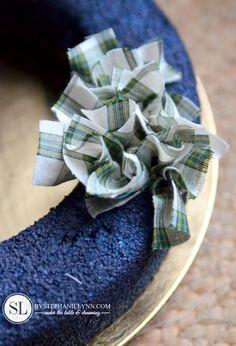 Another twist on rag wreaths, I'm loving how full it looks Poinsettia Wreath, Felt Wreath, Wreath Crafts, Diy Wreath, Rag Wreaths, Burlap Wreaths, Wreath Ideas, Wreath Making, Door Wreaths