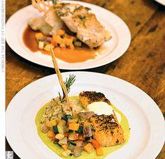 yes to fish! Wedding Dinner, Wedding Menu, Fall Wedding, Salmon Dinner, Fish Dinner, Wedding Entrees, Wedding Trends, Wedding Ideas, Fishing Wedding