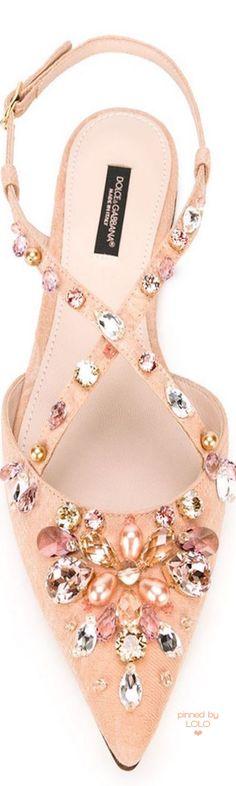 DOLCE & GABBANA Embellished Sling Back Ballerinas | LOLO❤︎