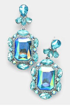 """Add some sparkle to your outfit with beautiful aqua color floral rhinestone dangle earrings. These earrings featurea post back and have silver tone trim.  Measurements:0.9"""" W 2"""" L  Floral Rhinestone Earrings by Jems from Jennie. Accessories - Jewelry - Earrings Virginia"""