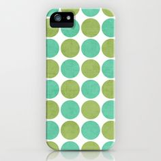 green and mint dots iPhone & iPod Case by her art