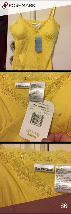 NWT *** LOWEST PRICE*** yellow tank w/bra Yellow beaded lace trim tank with built-in bra--NWT. No Boundaries Tops Tank Tops