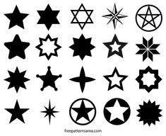 Vector and outline templates collection consisting of different star images. You can find the graphics vectors such as 5 points, 6 points, 8 points, compass star, David star, Christmas star, knit Nordic star in the design files. The stars decorate our nights. They show us the path in dark. A sky without them would be quite