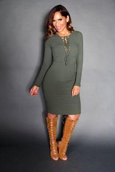 Sexy Strapped V-Neck Long Sleeved Midi Dress In Olive