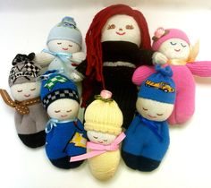 Hand-stitched sock dolls for OCC shoebox gifts