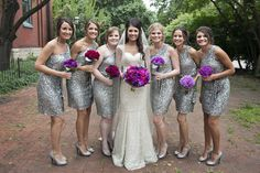 Rhinestone Wedding Ideas - Bridesmaid dresses~ Real Wedding | Tara   Spencer - Radiant Orchid
