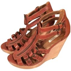 Pre-owned Twelfth St. By Cynthia Vincent Luella Gladiator Brown-cognac... ($102) ❤ liked on Polyvore featuring shoes, twelfth street by cynthia vincent shoes, gladiator wedge shoes, brown shoes, brown wedge shoes and gladiator shoes