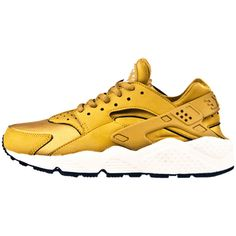 Nike Air Huarache Gold ❤ liked on Polyvore featuring shoes, sneakers, nike footwear, golden shoes, nike, nike shoes and gold shoes