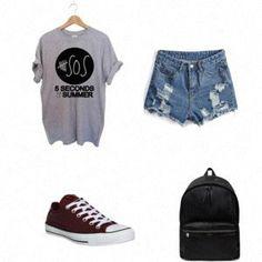 outfitfashiongirlprettypolyvorecutestyle5sos t-shirt
