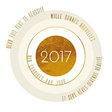 Envoyez cette jolie carte cible gold et tapez dans le mille avec ce slogan plein d'espoir aux nuances de blanc, or et beige made in Popcarte.