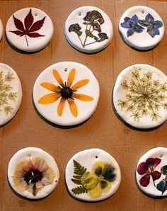 Pressed Flower Ornaments - Would make a great homemade gift!